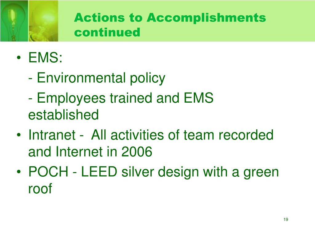 Actions to Accomplishments continued