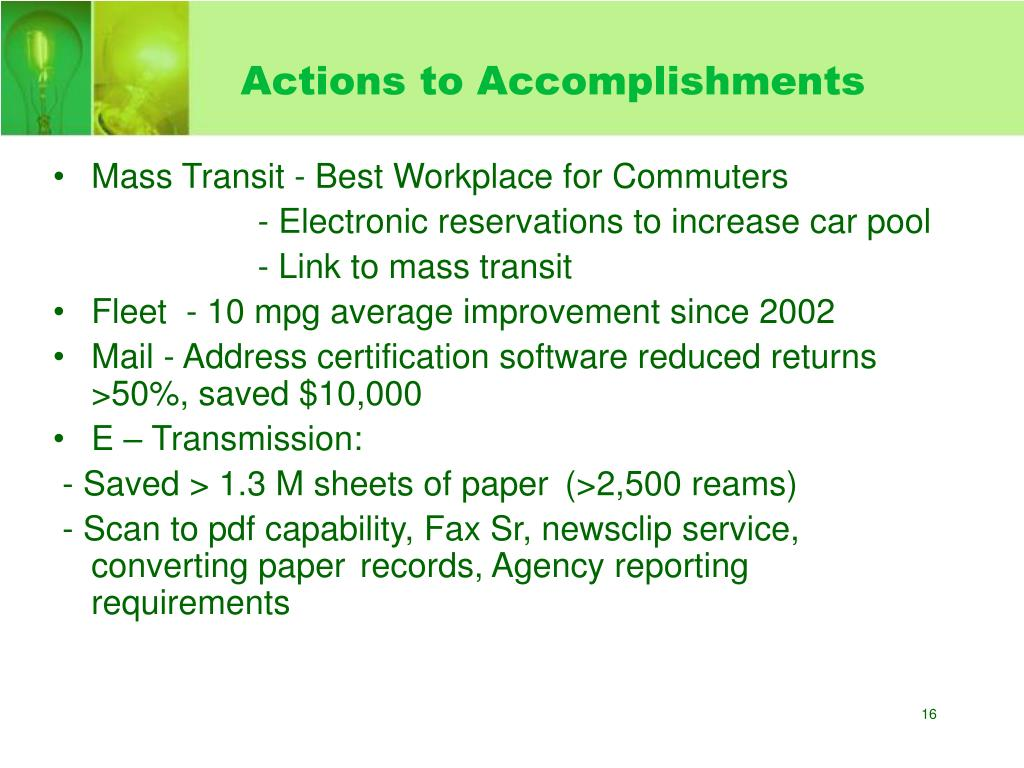 Actions to Accomplishments