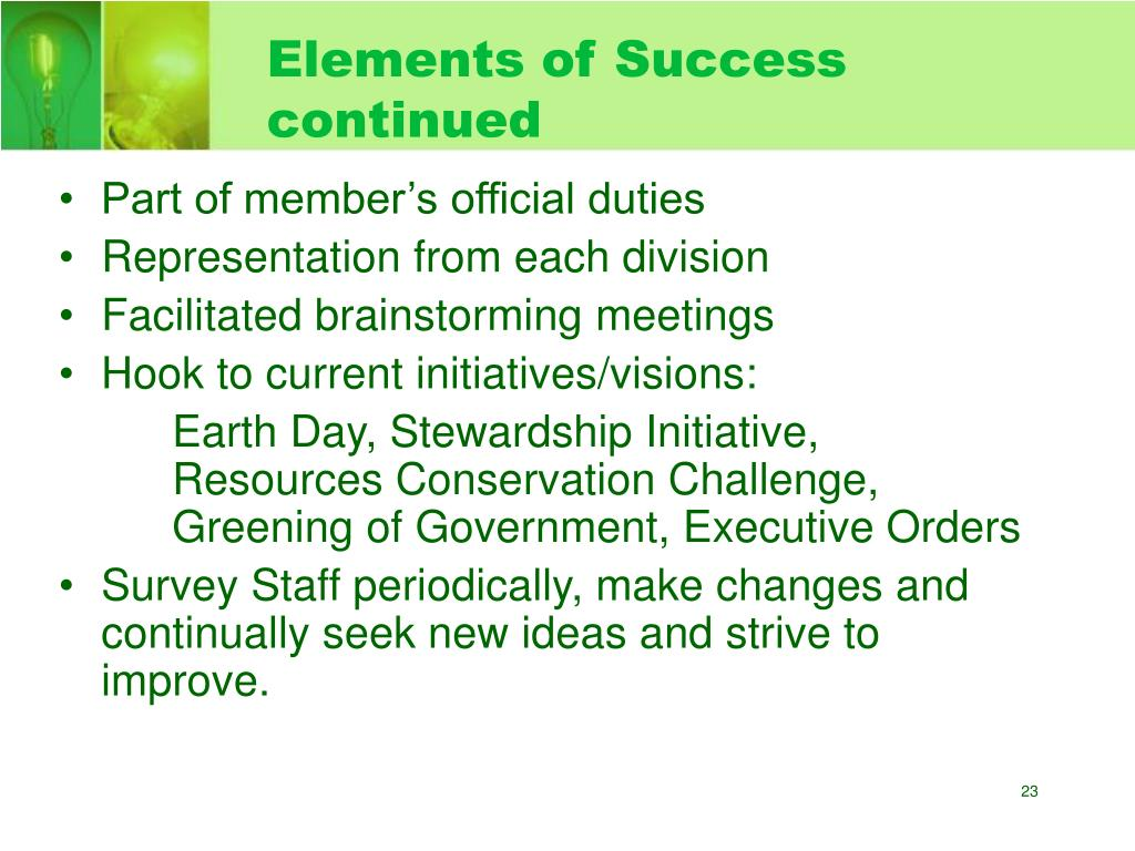 Elements of Success continued