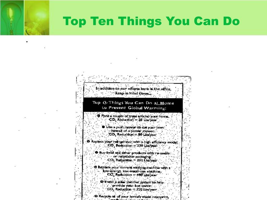 Top Ten Things You Can Do
