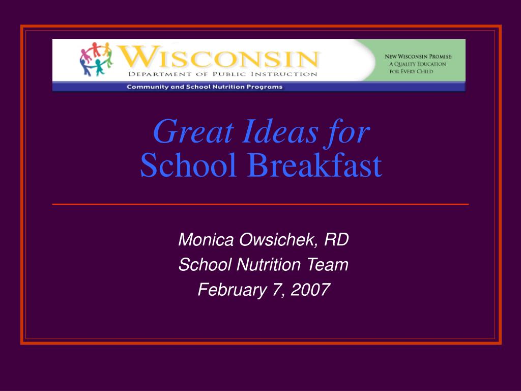 great ideas for school breakfast l.