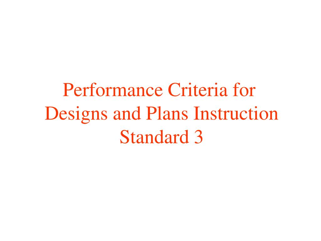 Performance Criteria for