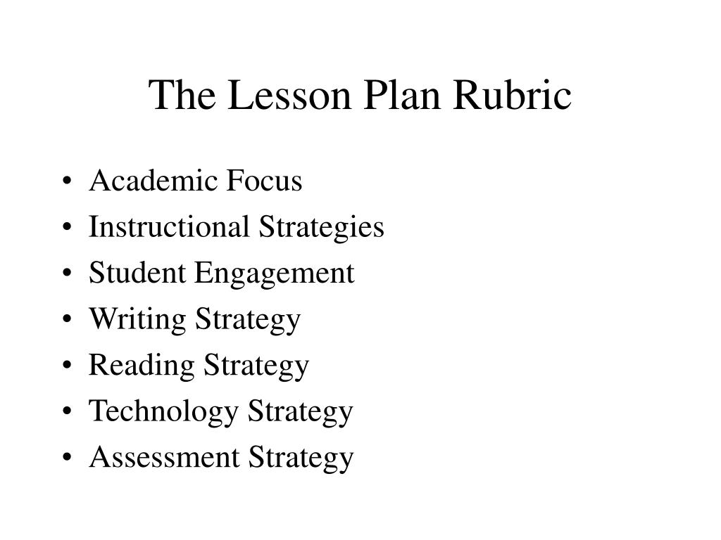 The Lesson Plan Rubric