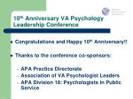 10 th anniversary va psychology leadership conference