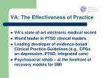 va the effectiveness of practice