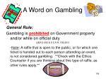 a word on gambling
