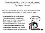 authorized use of communications systems jer 2 301a