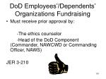 dod employees dependents organizations fundraising