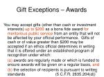 gift exceptions awards