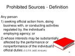 prohibited sources definition