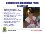 elimination of reduced price breakfast
