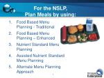 for the nslp plan meals by using