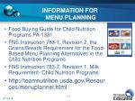 information for menu planning