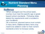nutrient standard menu planning