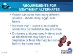 requirements for meat meat alternates