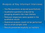 analysis of key informant interviews