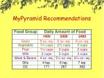 mypyramid recommendations