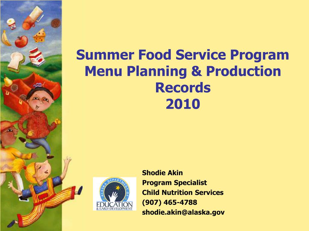 summer food service program menu planning production records 2010 l.