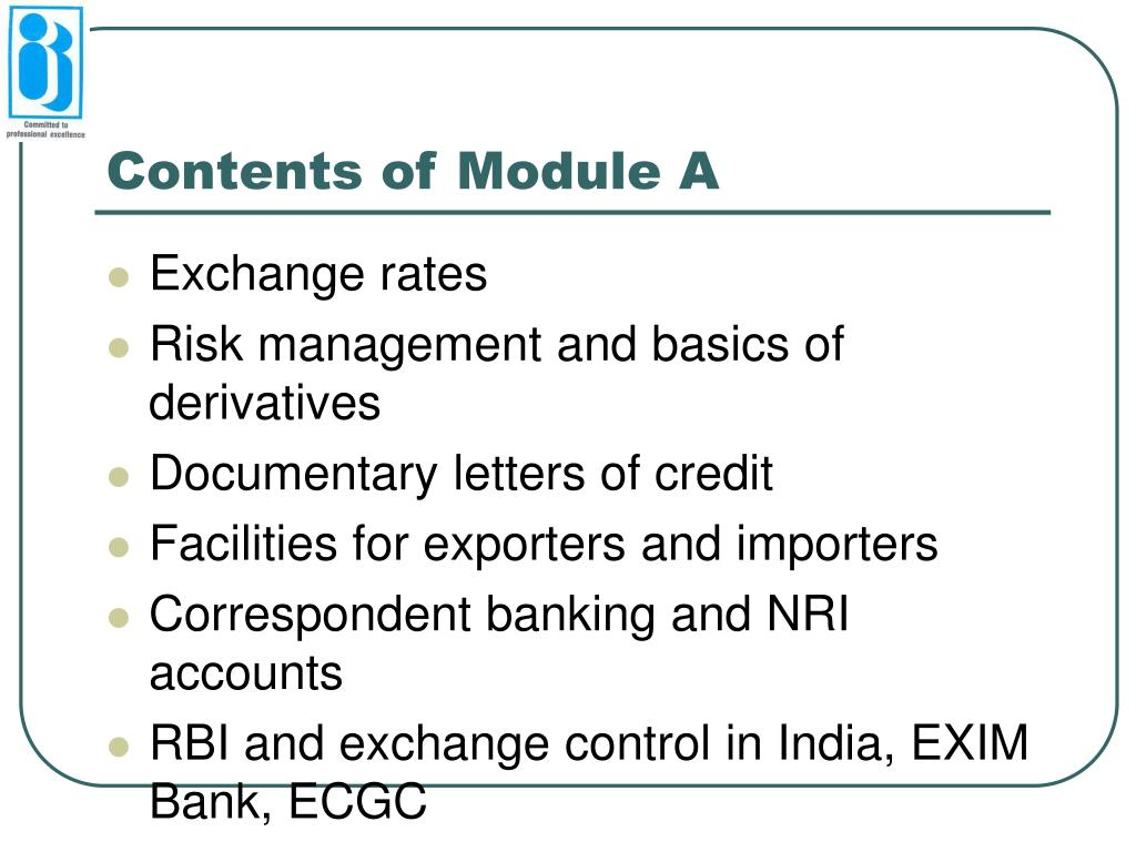 Contents of Module A
