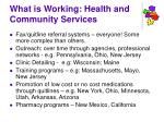 what is working health and community services