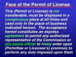 face of the permit of license