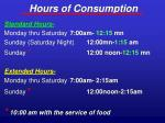 hours of consumption