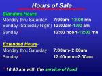 hours of sale