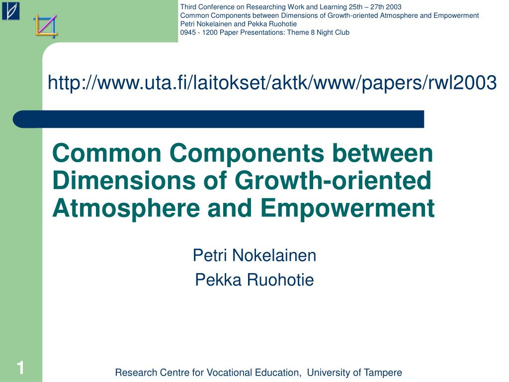 common components between dimensions of growth oriented atmosphere and empowerment l.