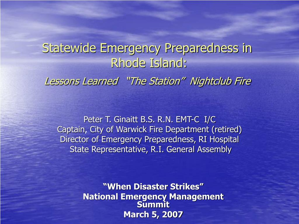 statewide emergency preparedness in rhode island lessons learned the station nightclub fire l.
