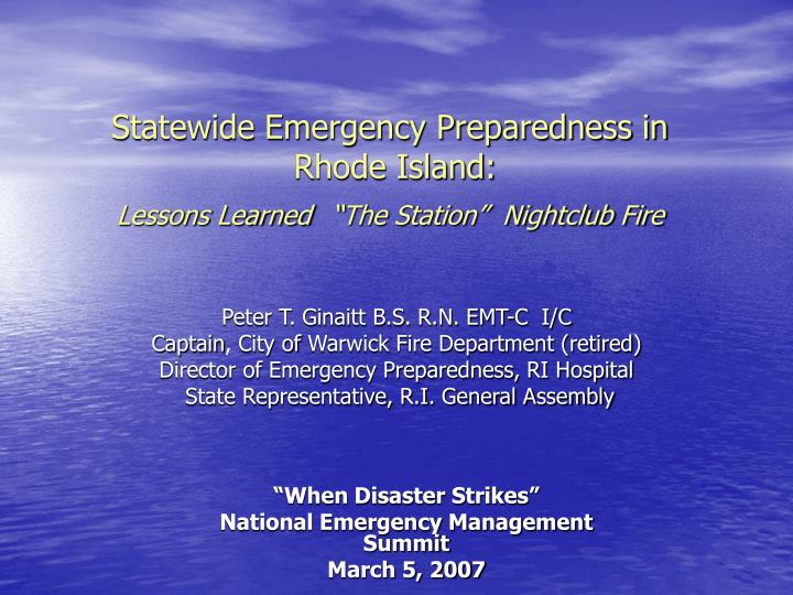 statewide emergency preparedness in rhode island lessons learned the station nightclub fire n.