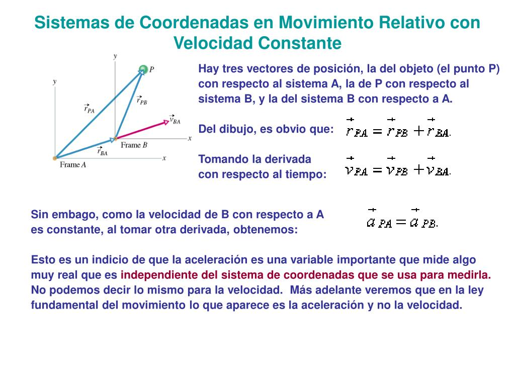 Sistemas de Coordenadas en Movimiento Relativo con Velocidad Constante