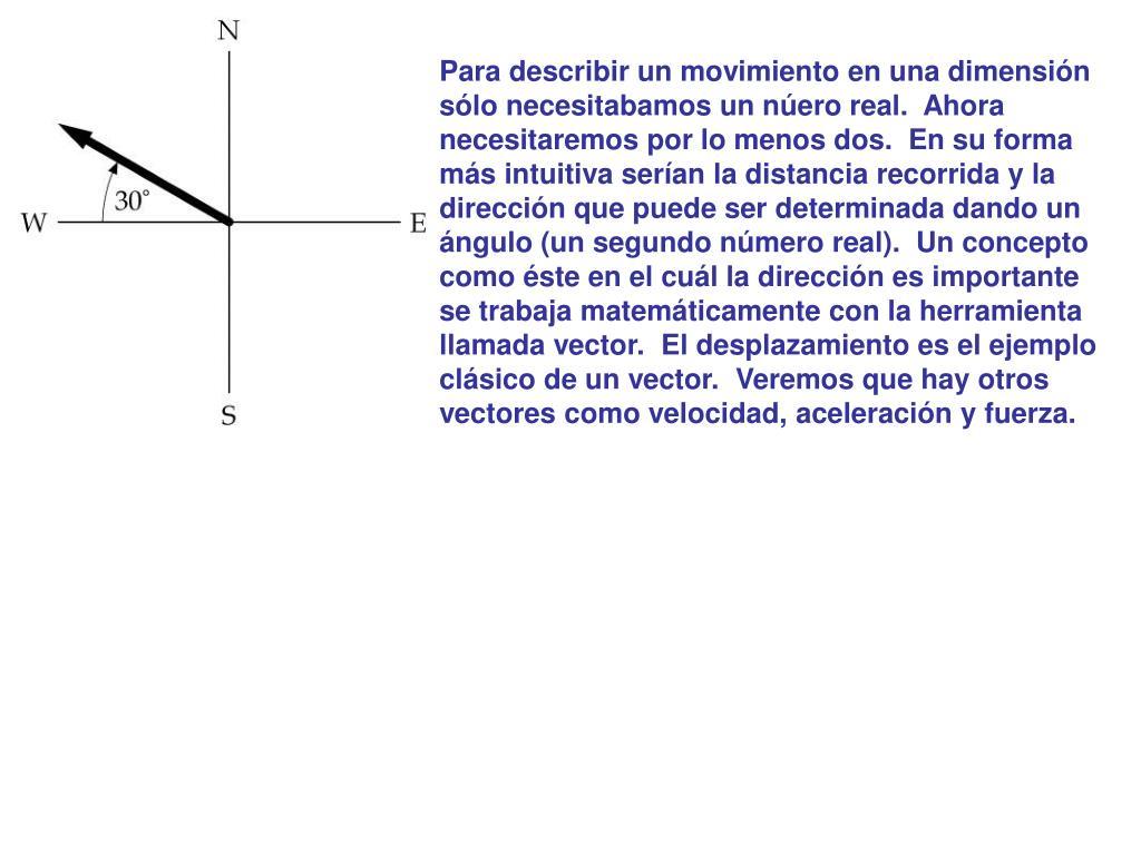 Para describir un movimiento en una dimensión sólo necesitabamos un núero real.  Ahora necesitaremos por lo menos dos.  En su forma más intuitiva serían la distancia recorrida y la dirección que puede ser determinada dando un ángulo (un segundo número real).  Un concepto como éste en el cuál la dirección es importante se trabaja matemáticamente con la herramienta llamada vector.  El desplazamiento es el ejemplo clásico de un vector.  Veremos que hay otros vectores como velocidad, aceleración y fuerza.