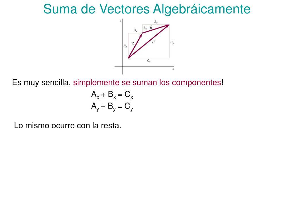 Suma de Vectores Algebráicamente