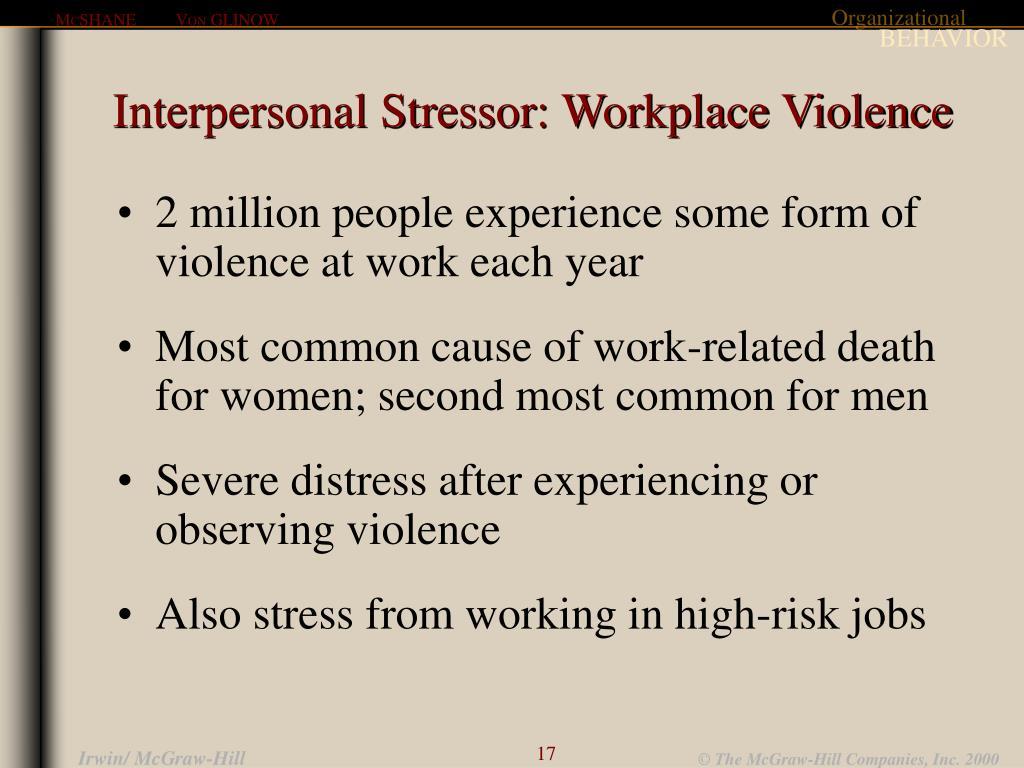 Interpersonal Stressor: Workplace Violence
