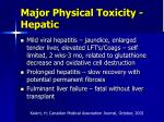 major physical toxicity hepatic