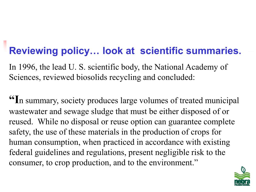 Reviewing policy… look at  scientific summaries.