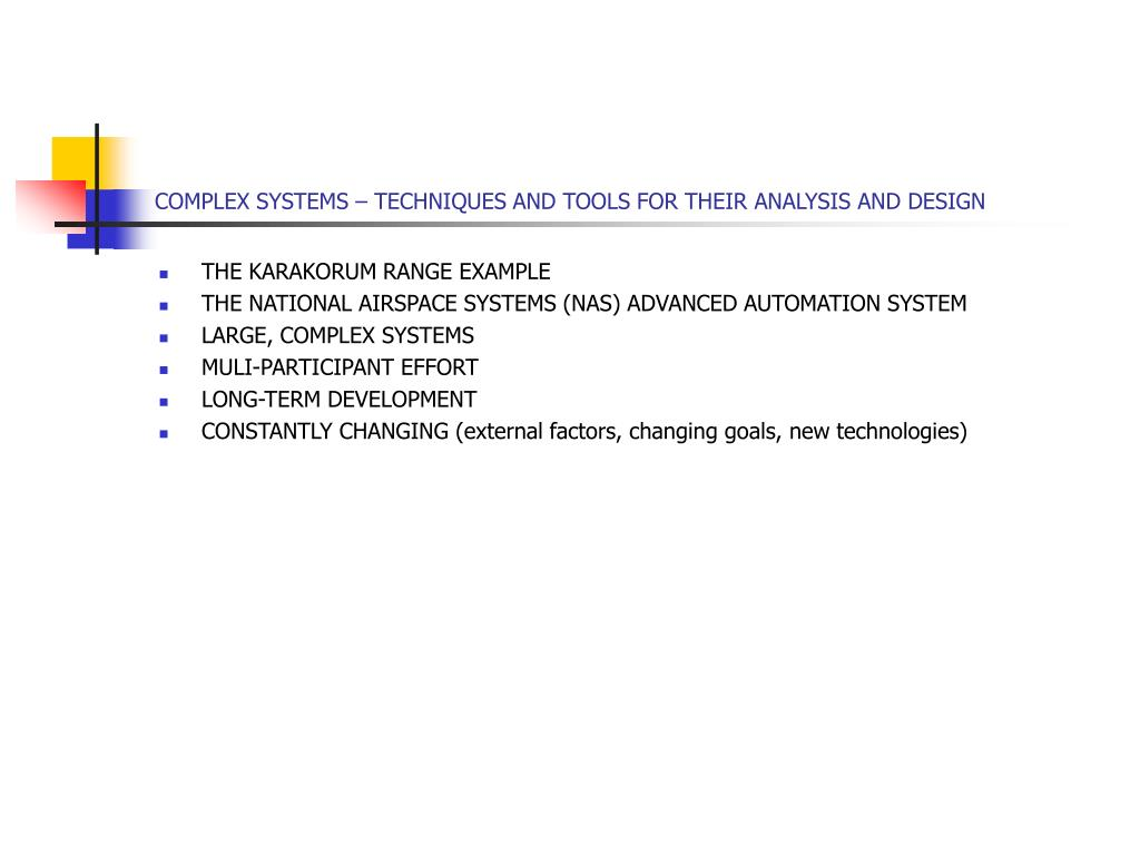 Ppt Complex Systems Techniques And Tools For Their Analysis And Design Powerpoint Presentation Id 304551