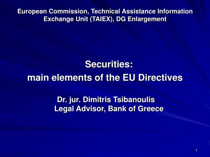 European commission technical assistance information exchange unit taiex dg enlargement