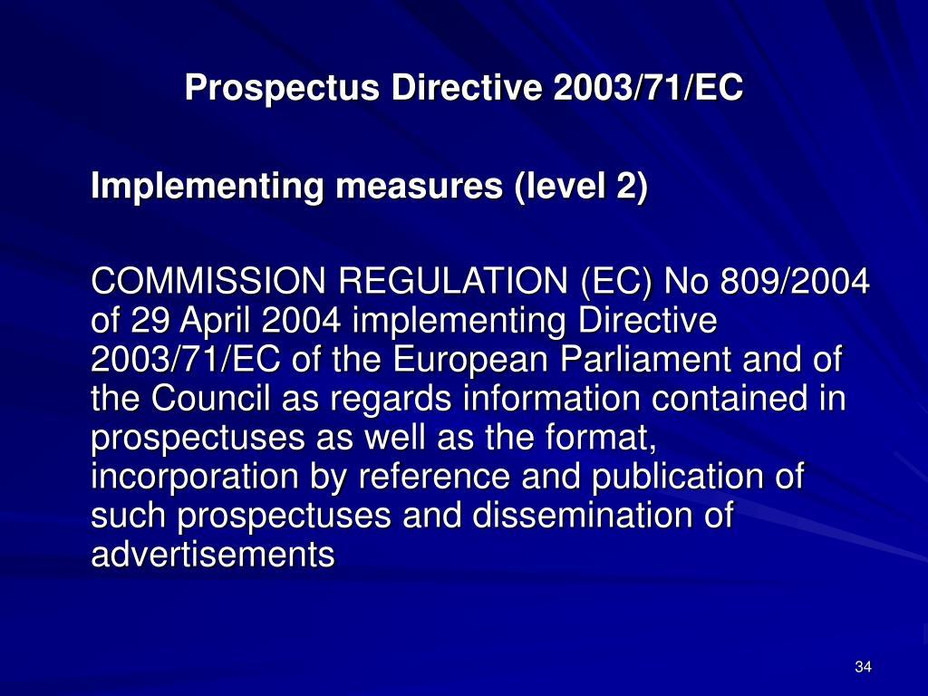 Prospectus Directive 2003/71/EC