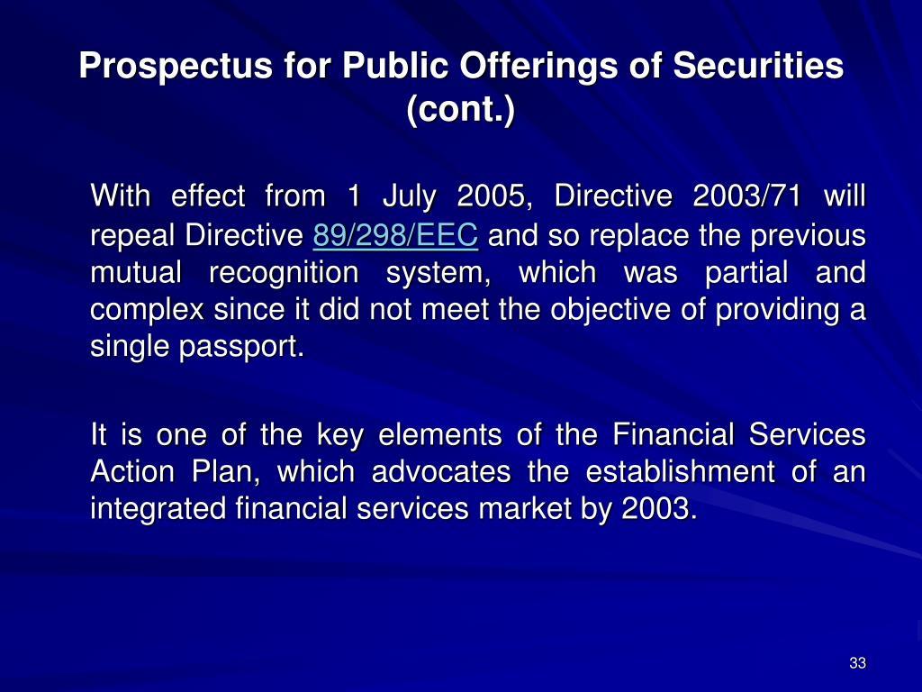 Prospectus for Public Offerings of Securities