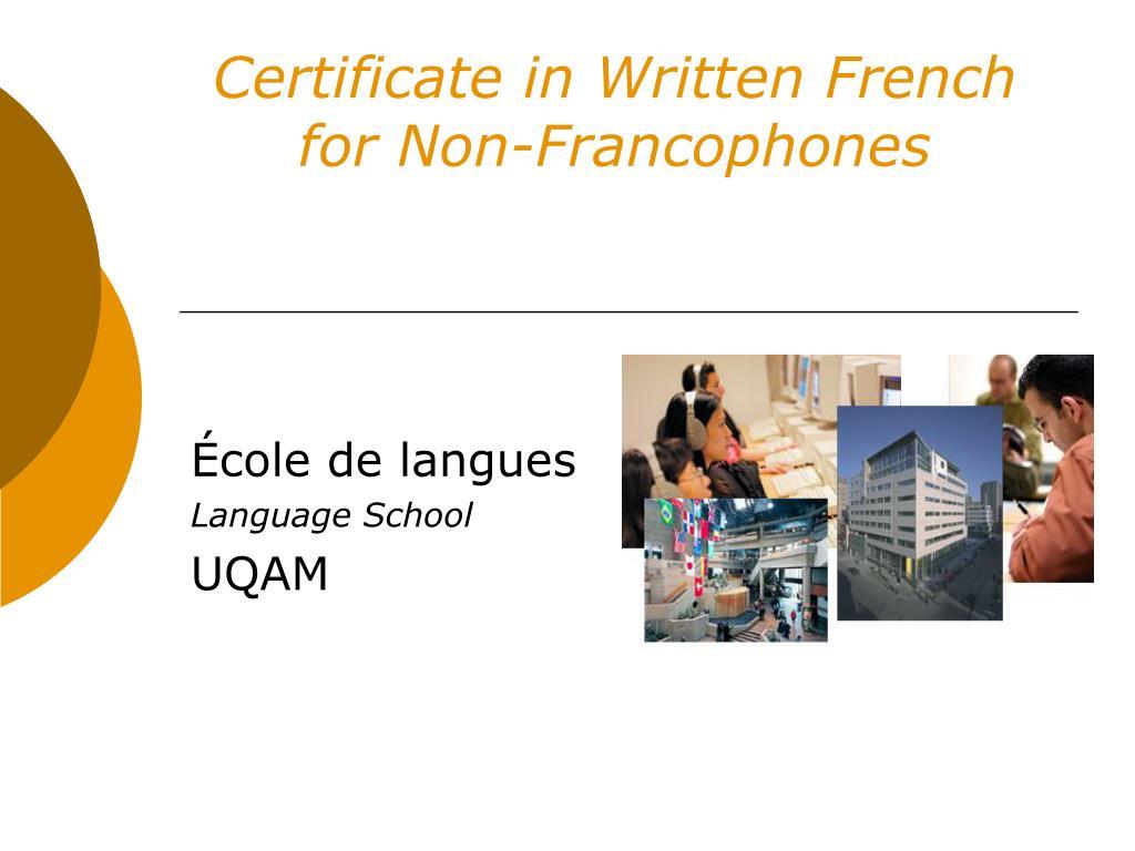 Certificate in Written French