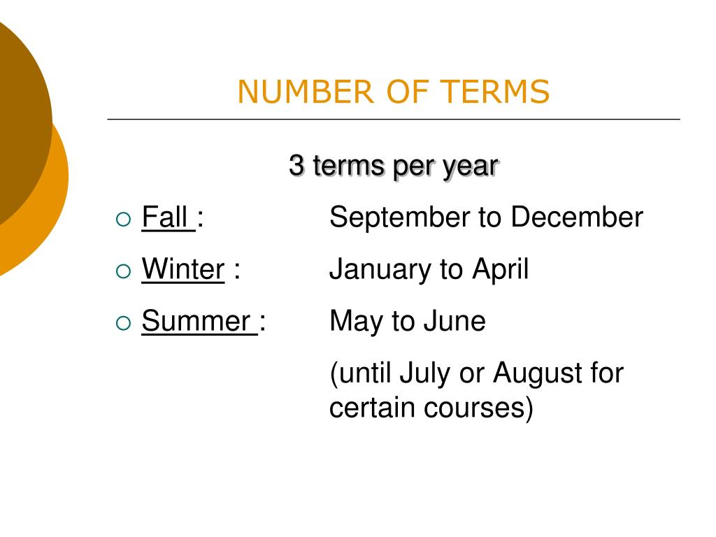 NUMBER OF TERMS