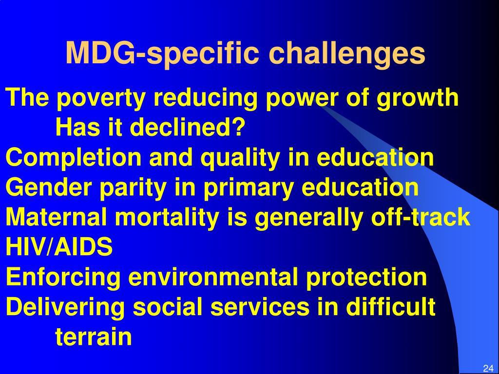 MDG-specific challenges