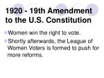 1920 19th amendment to the u s constitution