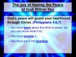 the joy of having the peace of god within you