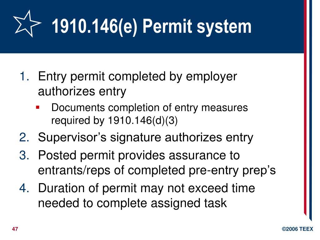 1910.146(e) Permit system