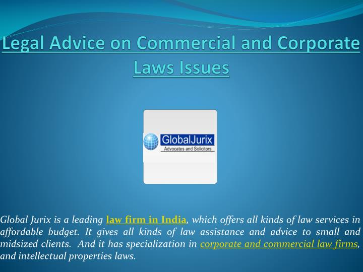 legal advice on commercial and corporate laws issues n.