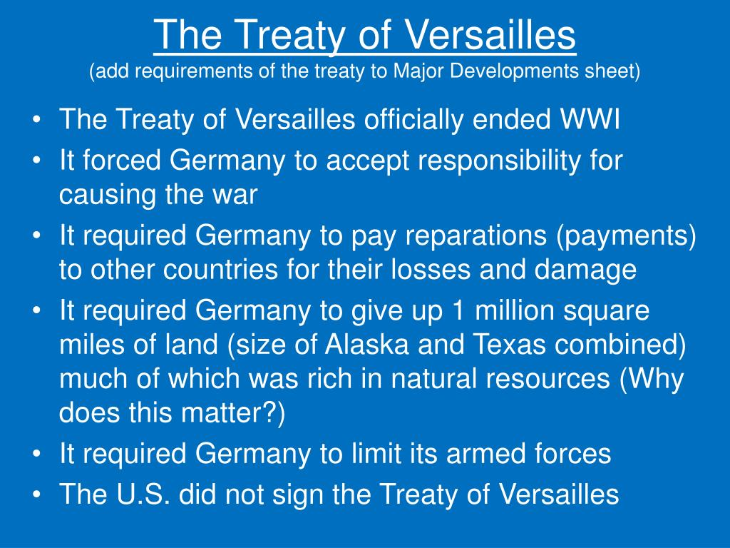 the negative effects of the treaty of versailles on germany The treaty of versailles was a peace treaty made following the events of the first world war the treaty was made to determine what should become of germany after the war, as one of the conditions of the treaty was that germany was to take full blame for causing the war, and all the damage done during it.