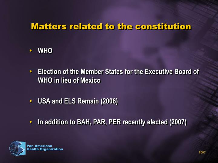 Matters related to the constitution