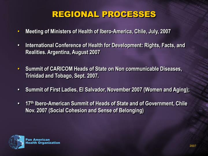 REGIONAL PROCESSES